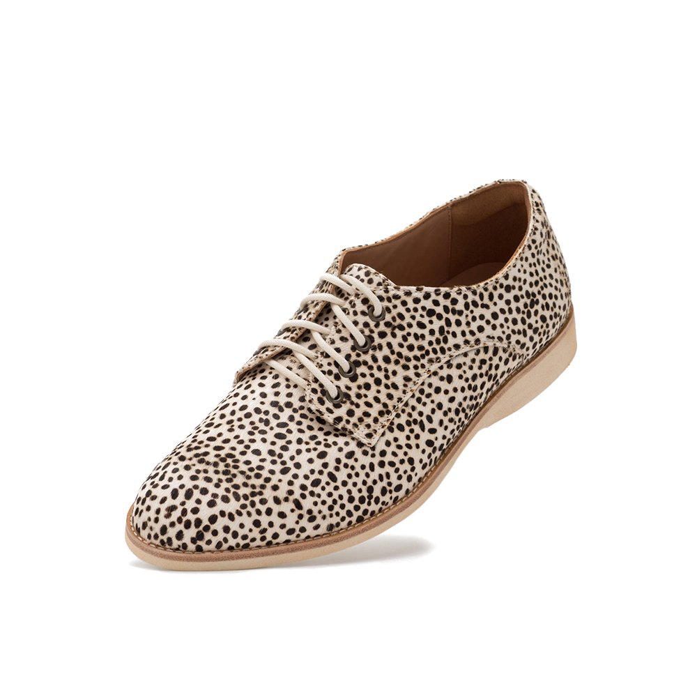 Rollie Women's Lightweight Derby Lace-up Flat Shoe B07BPGFN2W 38 M EU|Snow Leopard