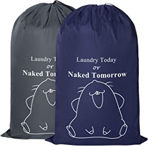 ZERO JET LAG 2 Pack Extra Large Travel Laundry Bag Set Nylon Rip-Stop Dirty Clothes Bag Machine Washable with Drawstring Closure Hamper Liner Heavy Duty College Essentials (Dark Blue and Gray)