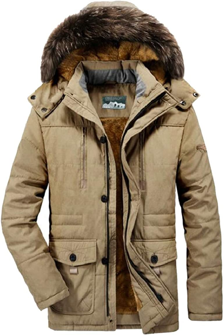 HTOOHTOOH Mens Faux Fur Lined Hood Windproof Jacket Oversize Thicken Casual Outwear
