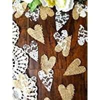 Burlap and Lace Heart Confetti Rustic Wedding Confetti for Table Runner for Bridal Showers, Baby Showers Party Decorations