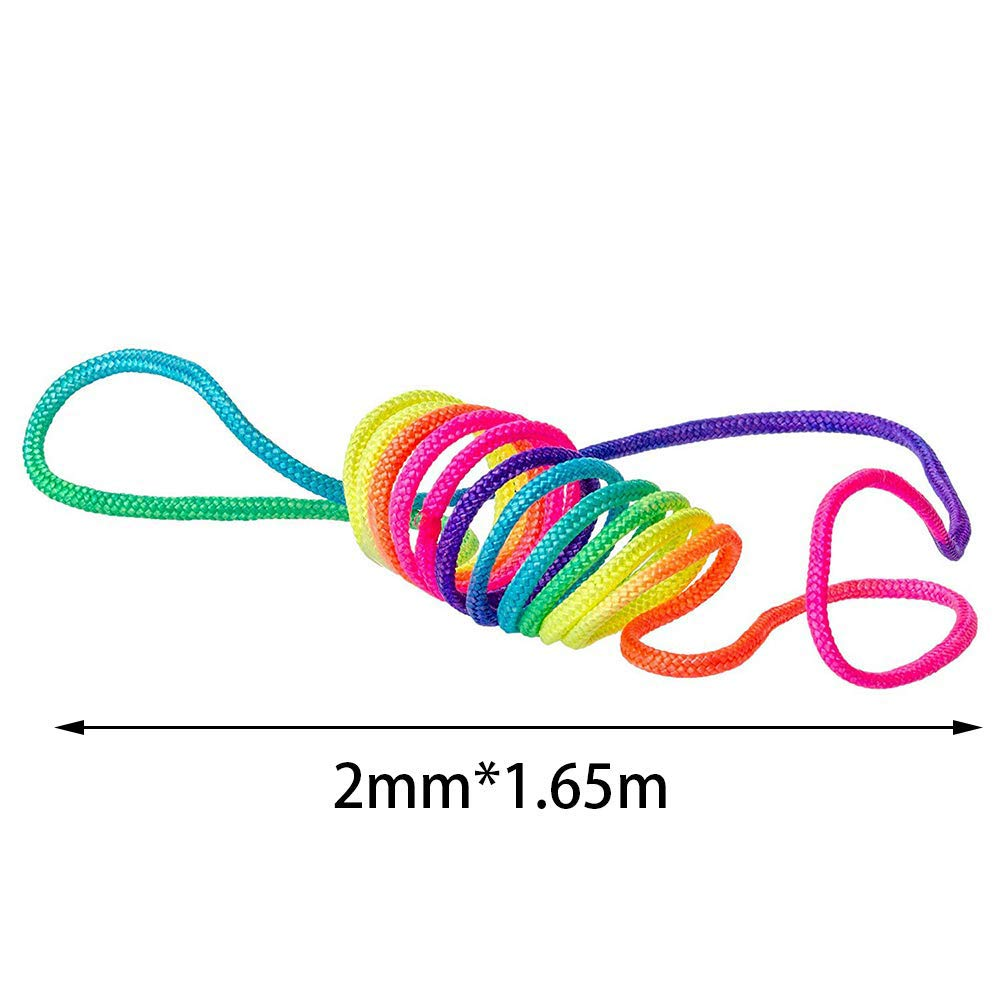 Xiton 5PCS Finger Rainbow Rope Set Finger Twist Thread Game Finger Play Toy String Puzzle Games KidS Rainbow Coloured Rope Toy Portable Travel Entertain Supplies