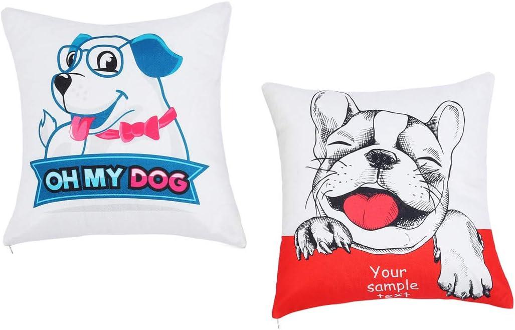 """18/"""" Dog Linen Decor Cotton Throw Pillow Case Sofa Cushion Cover Car Pillow Cases"""