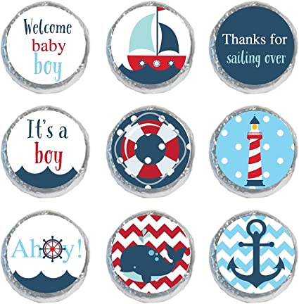 Baby Shower or Birthday Party Round Candy Sticker Favors 1 sheet of 108 Ahoy Labels Fit Hershey/'s Kisses Nautical