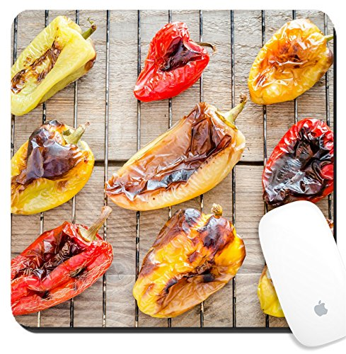 Luxlady Suqare Mousepad 8x8 Inch Mouse Pads/Mat design IMAGE ID 31678188 grilled bell peppers