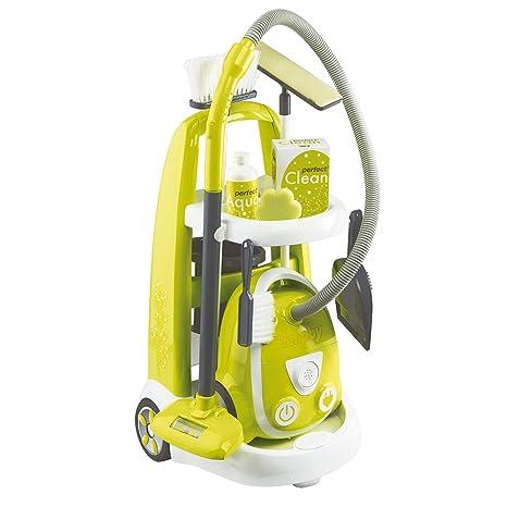 Smoby-330301 Carrito de Limpieza con Aspirador eléctrico Color monótono Simba Toys 330301