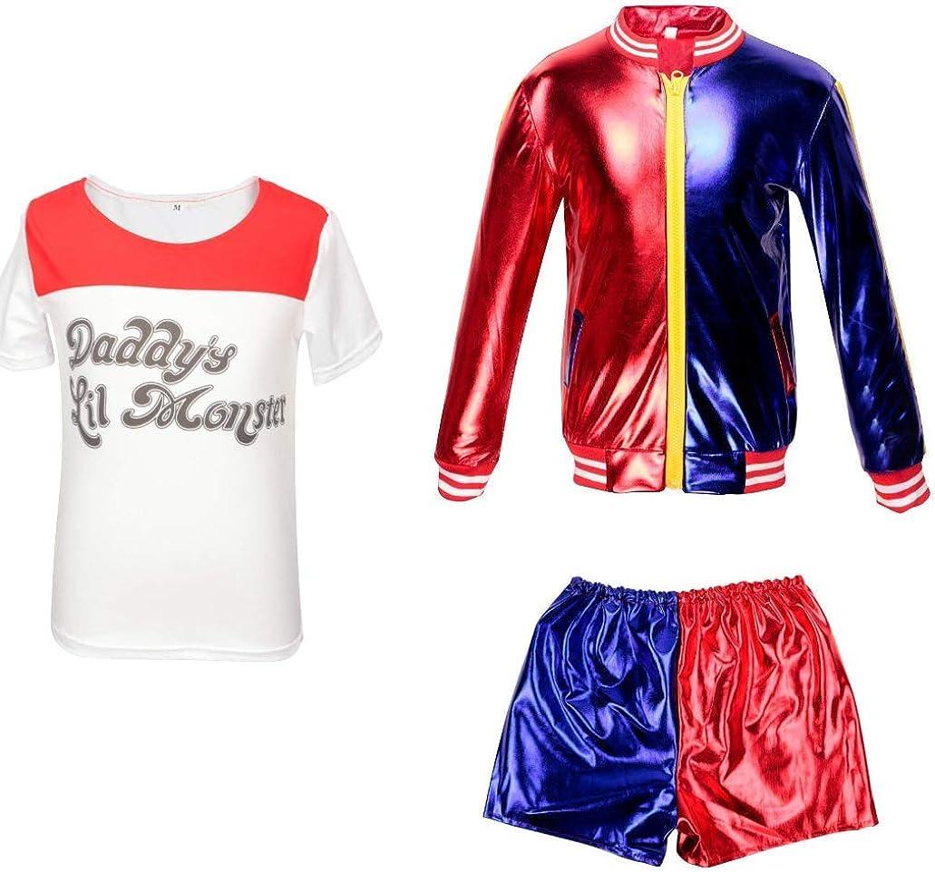 V/êtements Enfant et b/éb/é Suicide Squad Harley Quinn FancyDress CosplayCostume Outfit Manteau Shorts T-Shirt Set Rouge