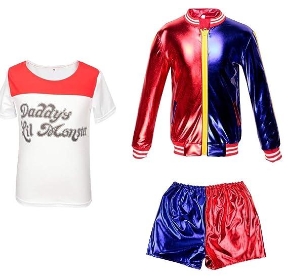 Ropa de Las Muchachas de los niños Suicide Squad Harley Quinn FancyDress Cosplay Conjunto de Traje de Traje Pantalones Cortos Conjunto de Camiseta ...