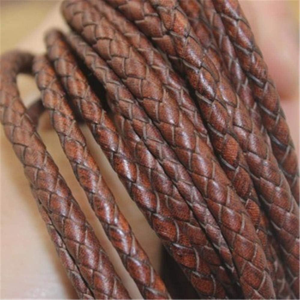 TKG 4 mm Redondo Trenzado del cordón de Cuero de Vaca de 5 mm de la médula espinal de Cuero Cuerda de 1m de Salida/Lote 3 mm de Bricolaje Pulsera,1,4 mm
