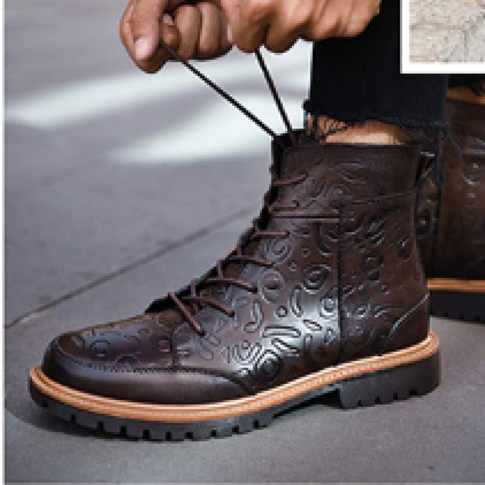 XINGF Mens Schwarze Spitze Mode Trend Warme Stiefel, Braune Jugend Jugend Jugend Martin Stiefel Wild Plus Baumwolle Hohe Stiefel 5c9247