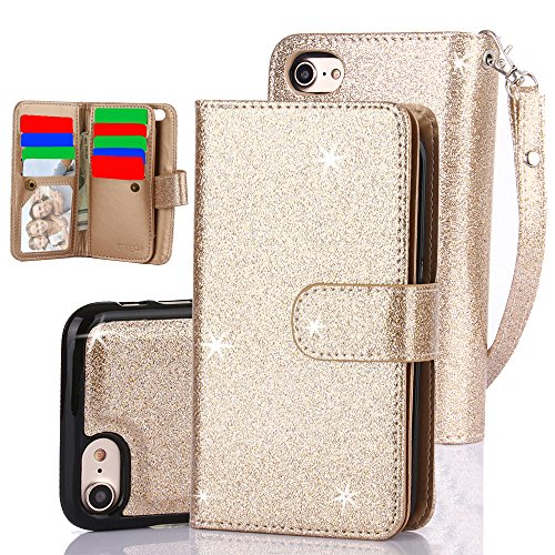 iPhone 7 Plus Case,iPhone 8 Plus Case TabPow 10 Card Slot - [ID Slot] Wallet Folio PU Leather Case Cover With Detachable Magnetic Hard Case For iPhone 7 Plus/iPhone 8 Plus (5.5 Inch) - Glitter Gold