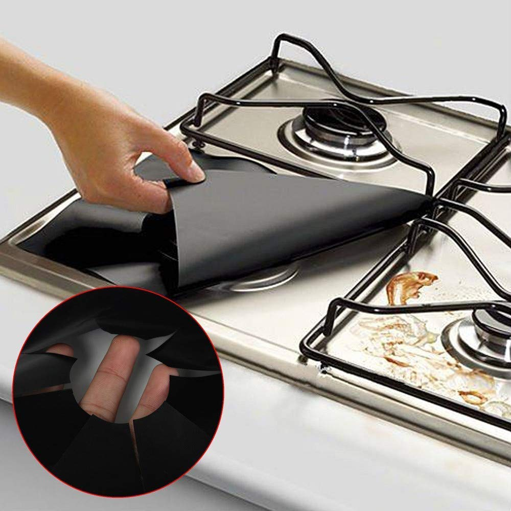 Amazon.com: Wffo 2PCS Universal Stove Burner Covers Protector Sheets Oven Liner Reusable (Black): Kitchen & Dining