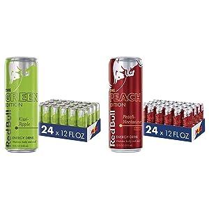 Red Bull Energy Drink, Kiwi Apple, 12 Fl Oz (24 Count), Green Edition & Energy Drink, Peach-Nectarine, 12 Fl Oz (24 Count), Peach Edition