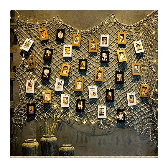Photo Hanging Display Fish Net Wall Decorations Picture Frames Multi Photos Organizer with 40 Clips for Party Teens, Children Bedroom Living Room - ♥ Flexiable and Versatile: Change your photos whenever you want, and also suitable for arts work or crafts, other papers or cards etc. ♥ Eco-friendly Materials: the fishing net was made in 3mm enviromental natural jute. Gorgeous, durable and eco friendly decor, It's very safe for children bedroom or other indoor use ♥ DIY Assembly: According to the size of the wall to adjust the net put way, everyone can make different way; you can also add some string lights on it to creates a warm, joyful ambience - picture-frames, bedroom-decor, bedroom - 61qJpDjoN6L. SS570  -