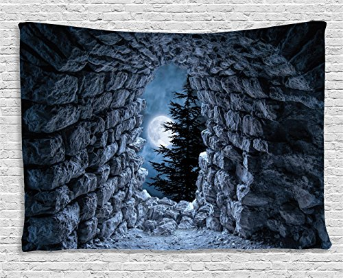 Ambesonne Gothic Tapestry, Dark Cave with The Full Moon at Night Scary Horror Medieval Gothic Artwork Print, Wall Hanging for Bedroom Living Room Dorm, 60 W X 40 L Inches, Dark Blue