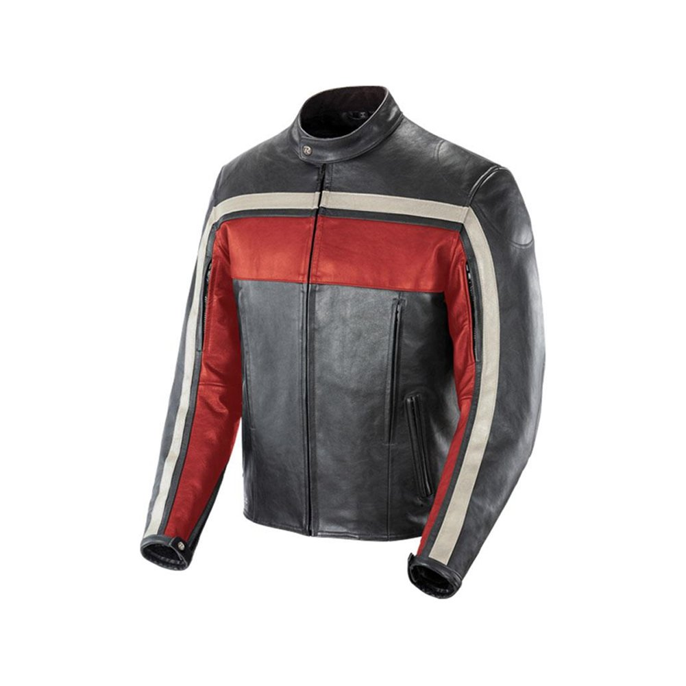Joe Rocket Old School Men's Leather Sports Bike Motorcycle Jacket - Red/Black / X-Large