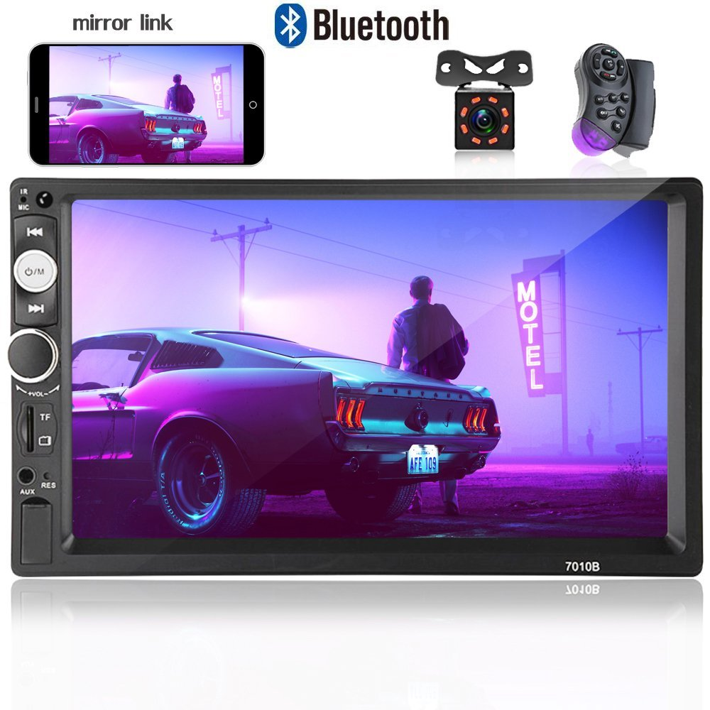 Hikity Double Din Car Radio 7'' Touch Screen Digital Display MP5 Player Bluetooth USB Multimedia + Car Backup Camera with 8 IR Light Night Vision and Steering Wheel Control Support Mobile Phone Mirror