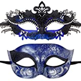 One Pair Couples Half Wedding Venetian Masquerades Masks Party Costumes Accessory (Black&Dark Blue)