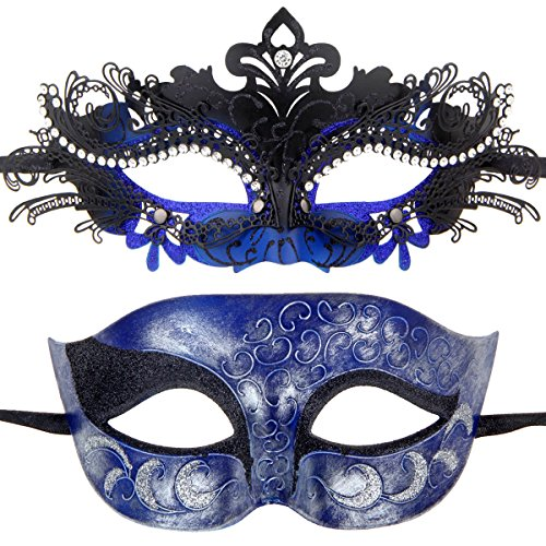 One Pair Couples Half Wedding Venetian Masquerades Masks Party Costumes Accessory (Black&Dark Blue) -