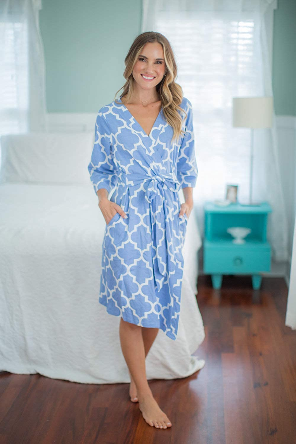 Baby Be Mine Mommy /& Me Delivery Robe with Matching Baby Receiving Gown /& Hat Set