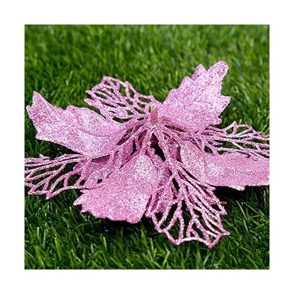 36 pezzi Decorazione per albero di Natale Fiori, Glitter rosa Poinsettia artificiale Fiori di Natale Ornamenti per alberi di Natale per Natale Festa di nozze Ghirlanda Decorazioni fai da te 5 spesavip