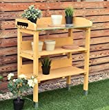 K&A Company Garden Wooden Potting Bench 3 Hooks 3 Tiers Rack Outdoor Plant Table Stand Planting Workstation