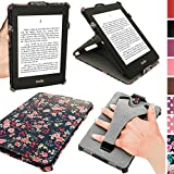 iGadgitz 'Desginer Collection' Pink Rose Floral Pattern PU 'Heat Molded' Leather Case Cover for Amazon Kindle Paperwhite 2015 2014 2013 2012 With Sleep/Wake Function + Viewing Stand & Integrated Hand Strap