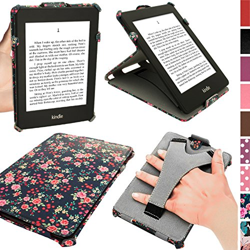 iGadgitz Floral PU 'Heat Molded' Leather Case Cover for Amazon Kindle Paperwhite