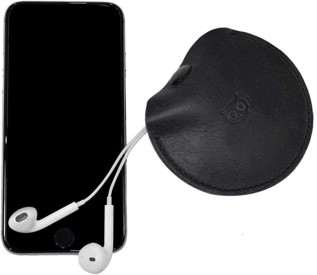 Portable Headphone Leather Case//Earbuds Pouch//Earphone and Cable Organizer Tech Storage Handmade by Hide /& Drink Charcoal Black