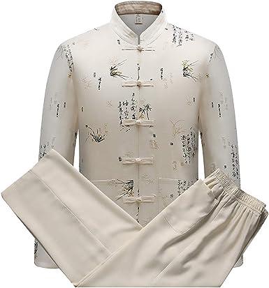 Handu yifu Traje Tang para Hombre, Camisa De Estilo Chino para Hombre, Collar De Pie, Patrón Dragón, Traje Tang Traje Taiji Kungfu, Camisa De Uniforme De Mediana Edad, Traje Nacional, Khaki, XXXL: