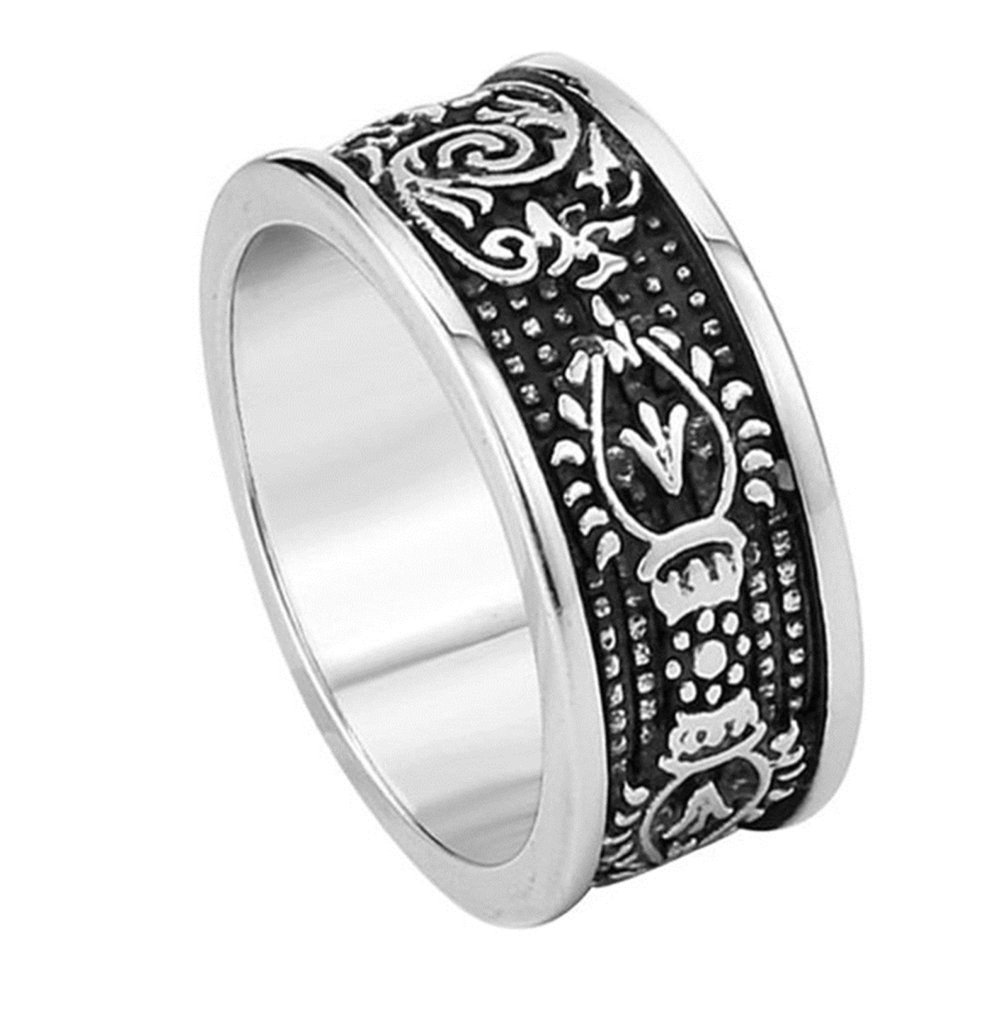 Bishilin Men's Fashion Stainless Steel Retro Rings Wedding For Him Size 10