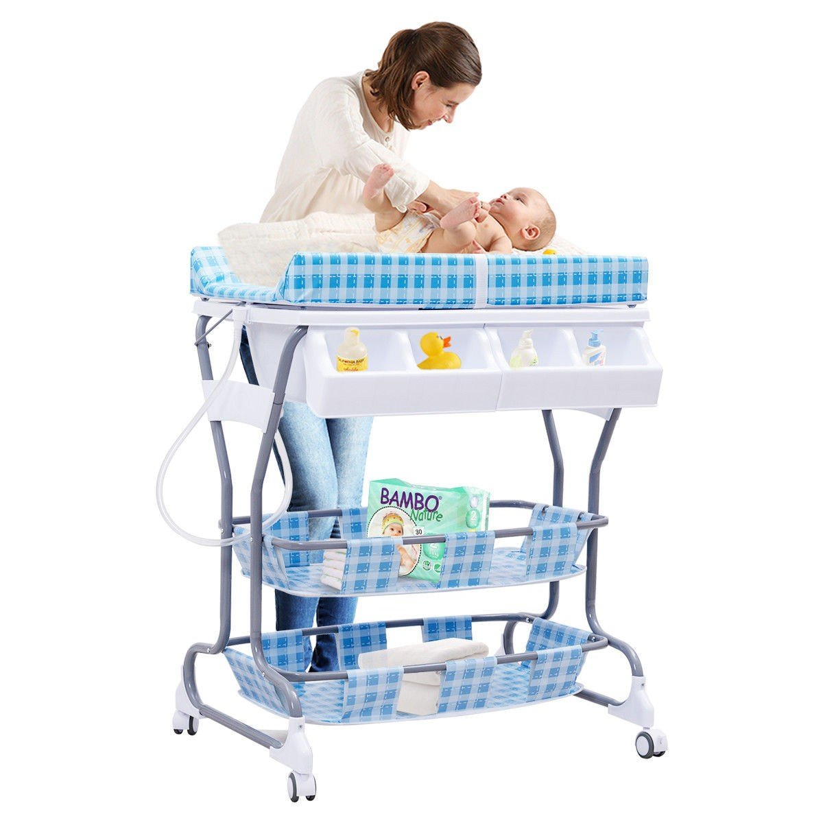 MD Group Baby Changing Table Blue Foam & Steel Frame 3-in-1 Pyramid Style Infant Nursery Storage