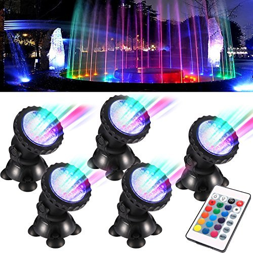 TOPBRY Remote Control Submersible Spotlight Pond Lights 36 LED Colorful IP68 Waterproof Aquarium Spotlight Multi-Color Decoration Landscape Lamp for Fountain Fish Pond Tank Water Garden (Set of 5)