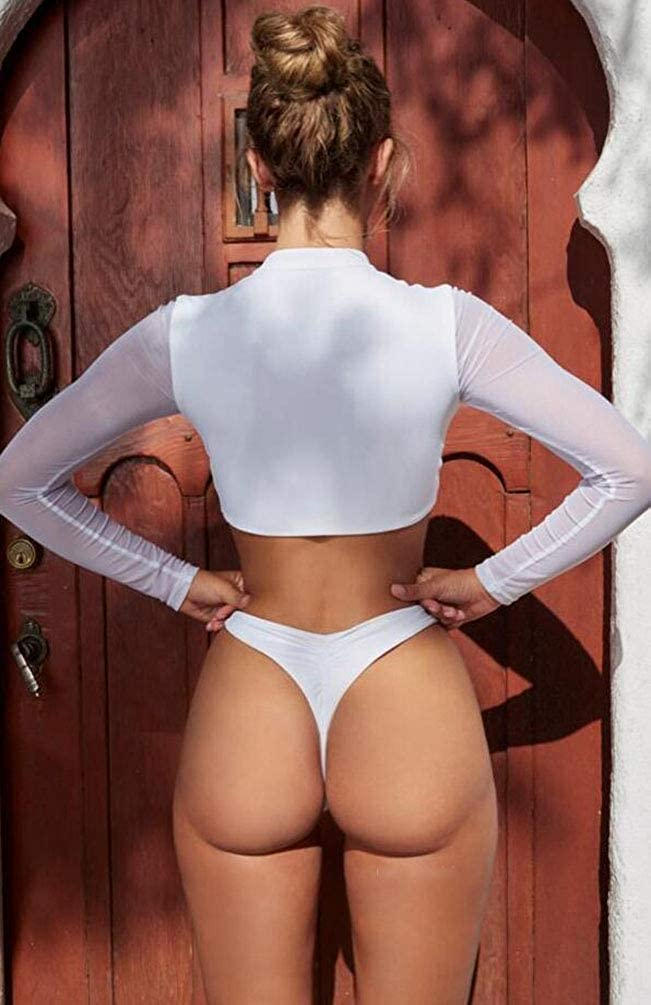 YiiJee Femme Couleur Unie Costume de Bikini Push Up Maillot de Bain avec Top /à Manches Longues