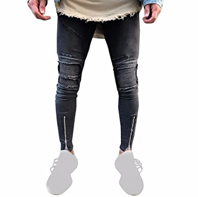 c9795563 ❤️Pants Men, 2018 Sportswear Elastic Fitness Ripped Slim Fit Motorcycle  Vintage Denim Jeans Hiphop