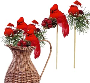 BANBERRY DESIGNS Red Cardinals Birds on a Stick - Assorted Style Cardinal Floral Picks - Set of 6 Birds Attached to Wooden Stems - Red Bird Centerpieces - Christmas DIY - Ornament Holiday Décor