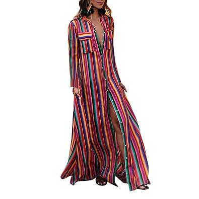 nouvelle sélection sans précédent acheter en ligne GongzhuMM Colorblock Maxi Robe Longue Rayé Multicolore Robe de Plage Femme  Manches Longues Robe de Soirée Sexy Bohême Robe Chemisier S-XL