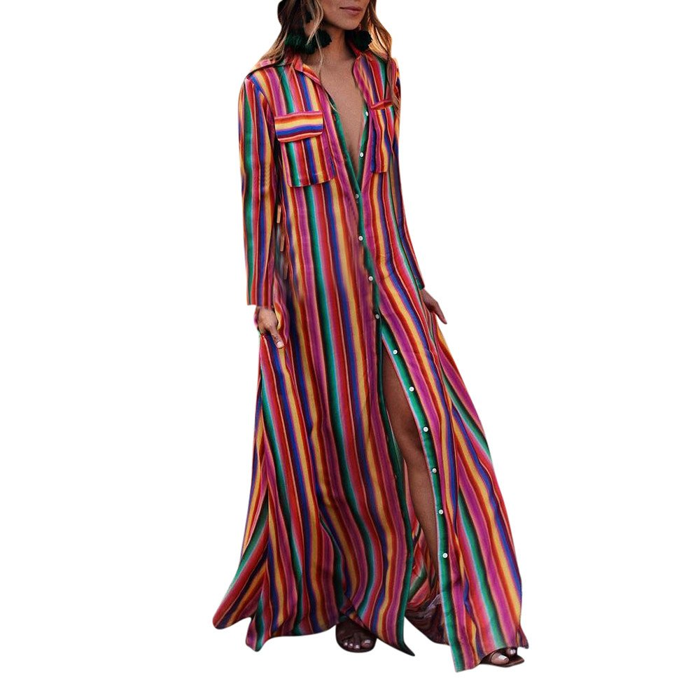 JESPER Fashion Womens Long Sleeve Striped Multicolor Button Bohe Beach Long Robe Dress Multicolor
