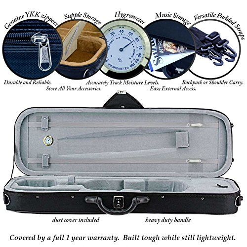(Portland Oblong Violin Case 3/4 Size Blue )
