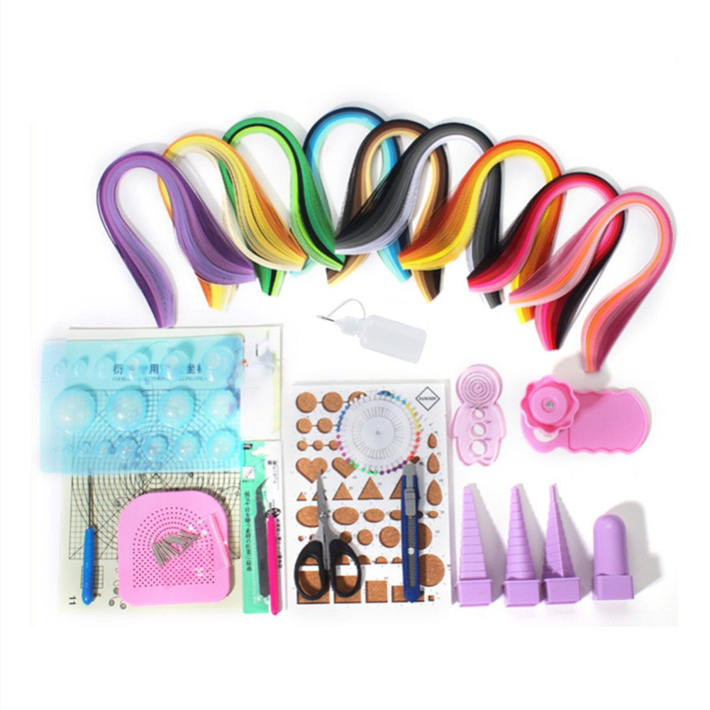YURROAD Paper Strips Quilling Tools Kit, 18 Kinds Tools and 900 Strips Paper(5mm) All-in-one