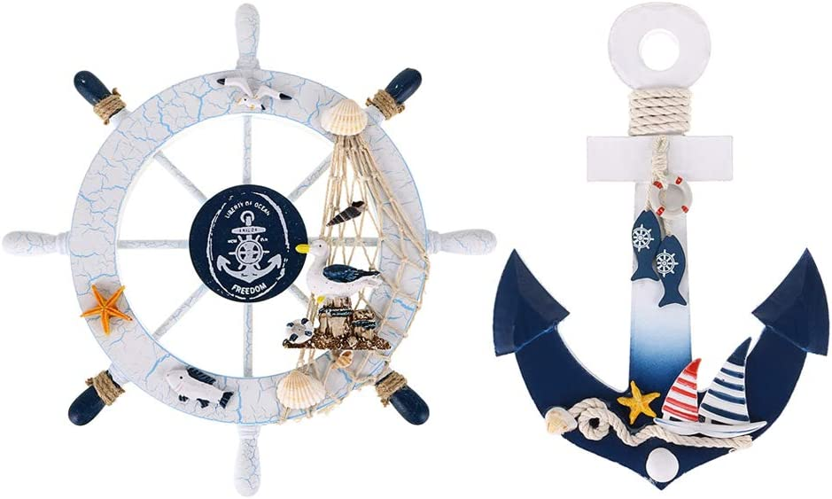 """Skelang 2 Pcs 11"""" Wooden Ship Wheel and Wood Anchor with Fish Rope Net Seashells Ornaments, Boat Steering Rudder Decor for Nautical Theme Wall Decor, Beach Theme Home Decoration"""