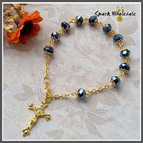 (Turnon 5pcs/lot Religious Women's Jewelry Gold Capped Blue Glass Bead Rosary Bracelet Cross Bracelet Catholic Communion Baptism Favors(black))