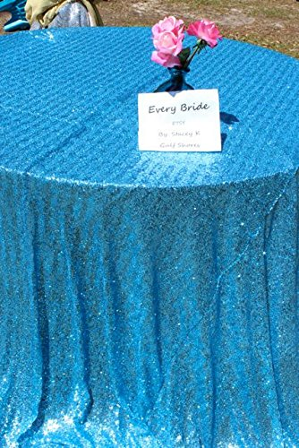 Cheapest 10PCS 120inch Round Sequin Tablecloth, Turquoise Table Cloth Sparkly Wedding Tablecloth Evening Party Decoration