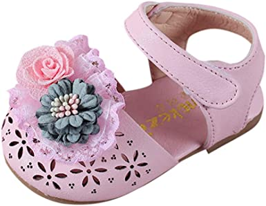 Toddler Newborn Baby Girls Summer Sandals Lace Floral Hollow Out Little Kids Boots Closed-toe Sandal Crib Shoes