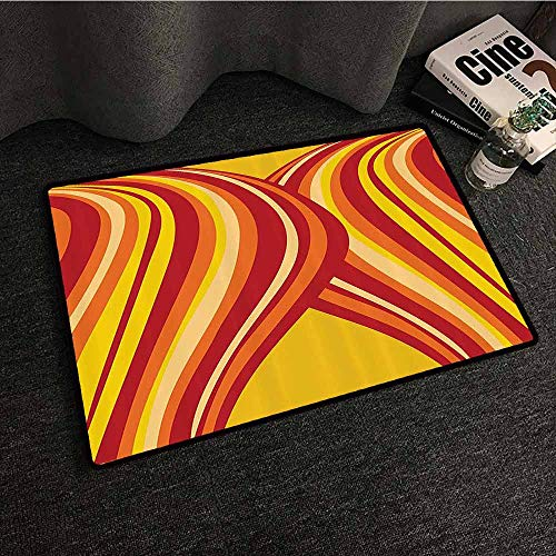 Retro Interior Door mat Wavy Vertical Stripes Entwined Curvy Abstract Artwork Graphic Illustration Art Breathability W20 xL31 Yellow Orange Red