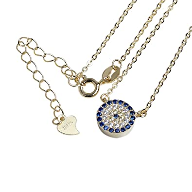Kaletine Round Blue Evil Eye Necklace Gold Plated Sterling Silver Pendant with CZ Charms Chain Length 16+2 inch Extender B3lTJ
