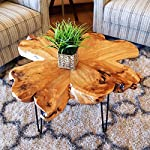 "WELLAND Live Edge Coffee Table, Wood Slab Coffee Table, Natural Edge Coffee Table, Mid-Century Hairpin Coffee Table 29"" L x 27"" W x 20.5"" T"