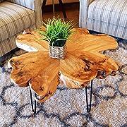 "WELLAND Live Edge Coffee Table, Wood Slab Coffee Table, Natural Edge Coffee Table, Mid-Century Hairpin Coffee Table 29"" L x 27"" W x 20.5"" T"