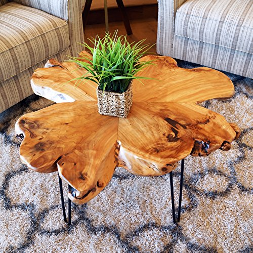 (WELLAND Natural Edge End Table, Wood Side Table, Nightstand (Style D))