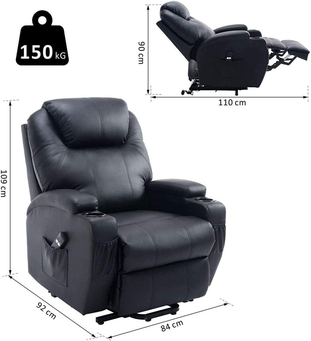 USDFJN Fauteuil de Massage électrique, Fauteuil Relax inclinable, Vibrant et Chauffant Beige NO-4 No-5129