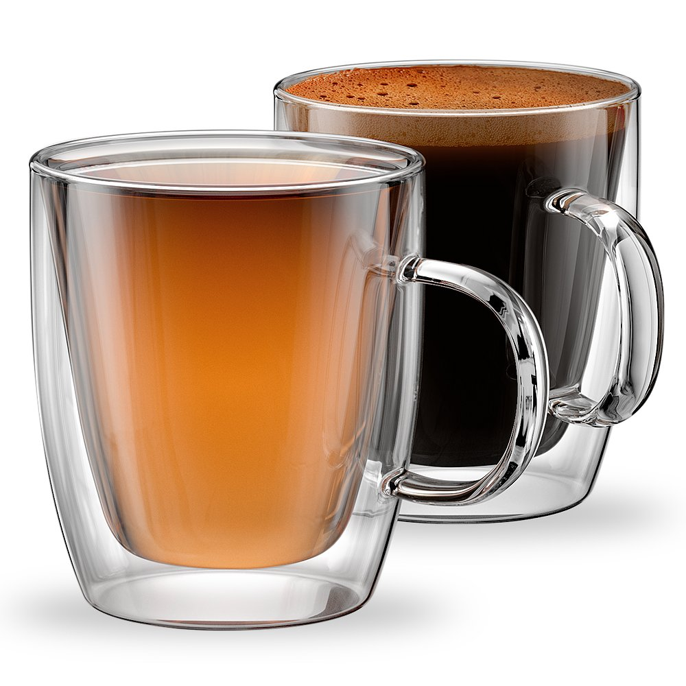 Stone & Mill Double Wall Insulated Glass Coffee Mugs for Espresso, Latte, Cappuccino, Thermo Glassware, Modena Collection, Set of 2, Gift-boxed Am-10 12 oz